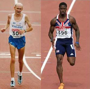How a runner looks and how a sprinter body looks.